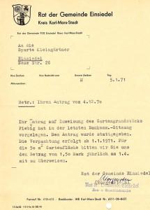 Pacht Fiebiggrundstück 1971