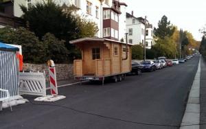 Die Sauna am Info-Stand