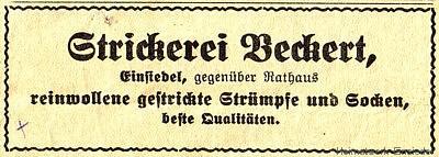 Zeitungsannonce aus den 1930er Jahren.