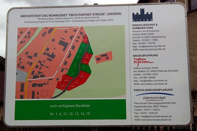 Bautafel für das Wohngebiet Erich-Parthey-Straße in Einsiedel