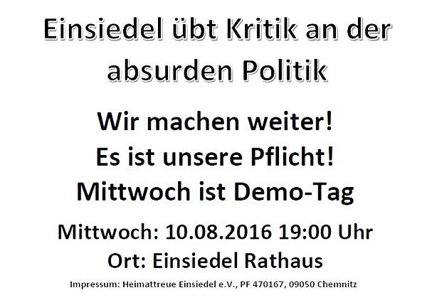 Aushang für die Demo am 10.08.2016 in Einsiedel