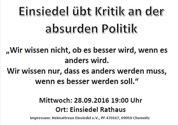 Aushang Demo Einsiedel 28.09.16