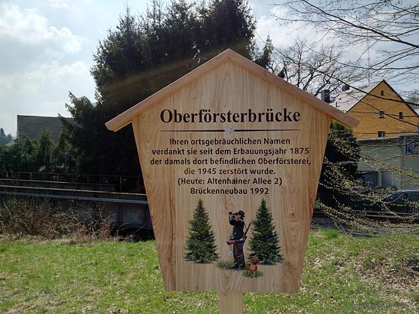 Schild Oberförsterbrücke Einsiedel