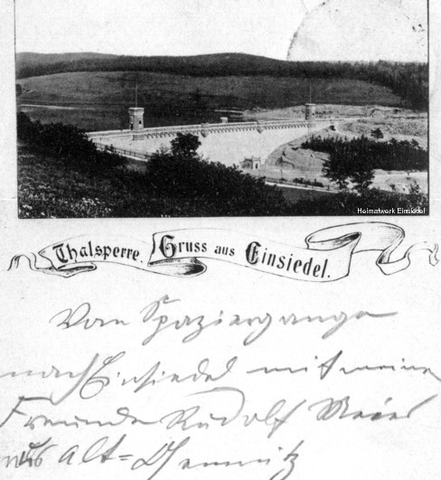 Frühe Postkarte der Einsiedler Talsperre 1896