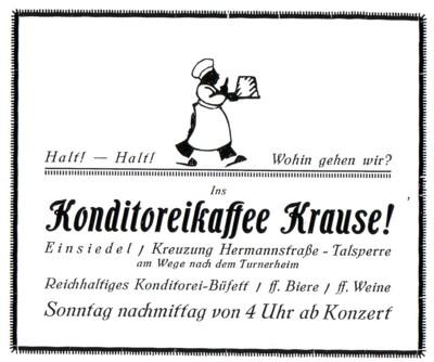 Reklame Konditoreikaffee Krauße 1926