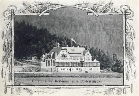 Frühe Postkarte Waldesrauschen Einsiedel 1908