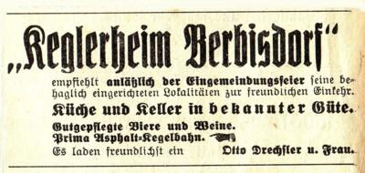 Zeitungsannonce Keglerheim Berbisdorf 1935