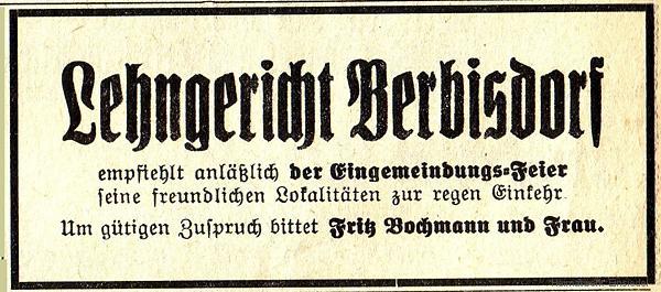 Annonce Lehngericht Berbisdorf 1935