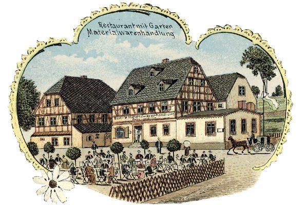 Gasthaus zur Friedenseiche Lithografie 1912