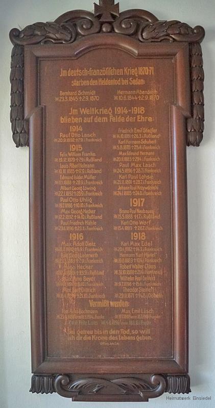 Namenstafel für die Gefallenen in der Kirche Berbisdorf