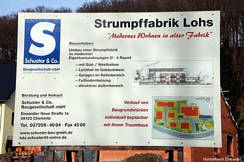 Bautafel Umbau ehem. Strumpffabrik Lohs in Wohnungen