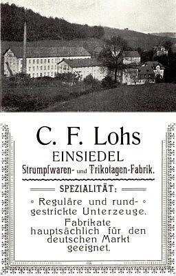 Reklameanzeige Strumpffabrik Lohs 1905