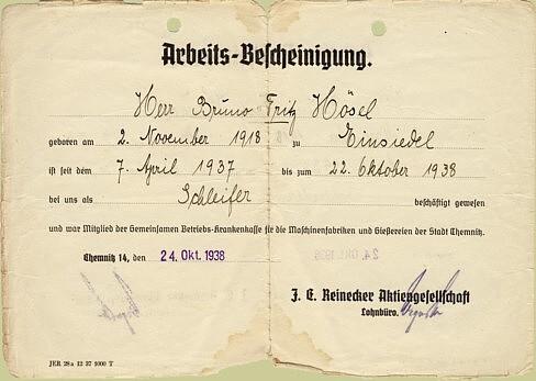 Arbeitsbescheinigung Fritz Hösel Einsiedel 1938