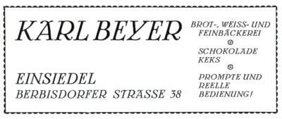 Beyer-Bäcker Zeitungsannonce 1926
