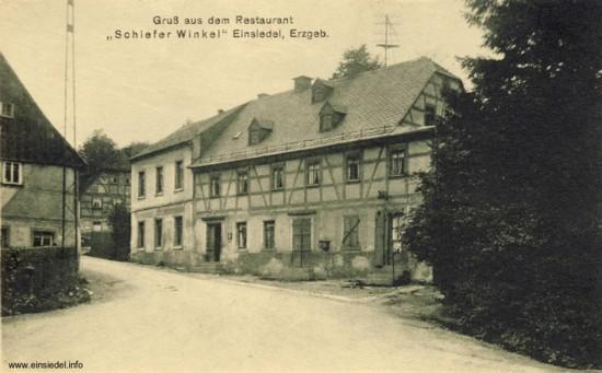 Ansichtspostkarte Restaurant Schiefer Winkel in Einsiedel