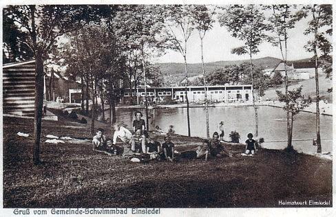 Gemeindeschwimmbad Einsiedel Postkarte um 1930