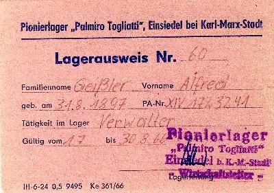 Ausweis für Bedienstete im Pionierlager Einsiedel