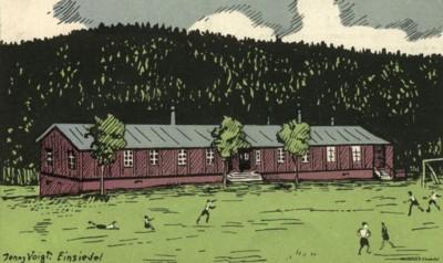 Turnerheim Einsiedel Zeichnung der Baracke