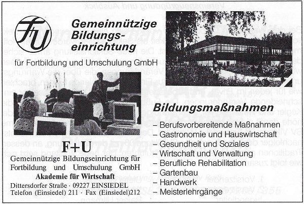 Werbeanzeige F+U Einsiedel 1993