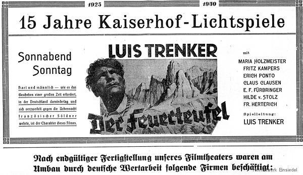 """Kinoreklame """"Der Feuerteufel"""" im Kaiserhof Einsiedel"""