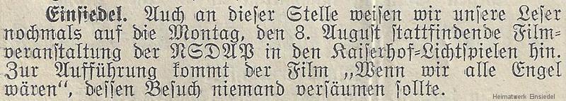 """Kinohinweis """"Wochenblatt für EInsiedel"""""""