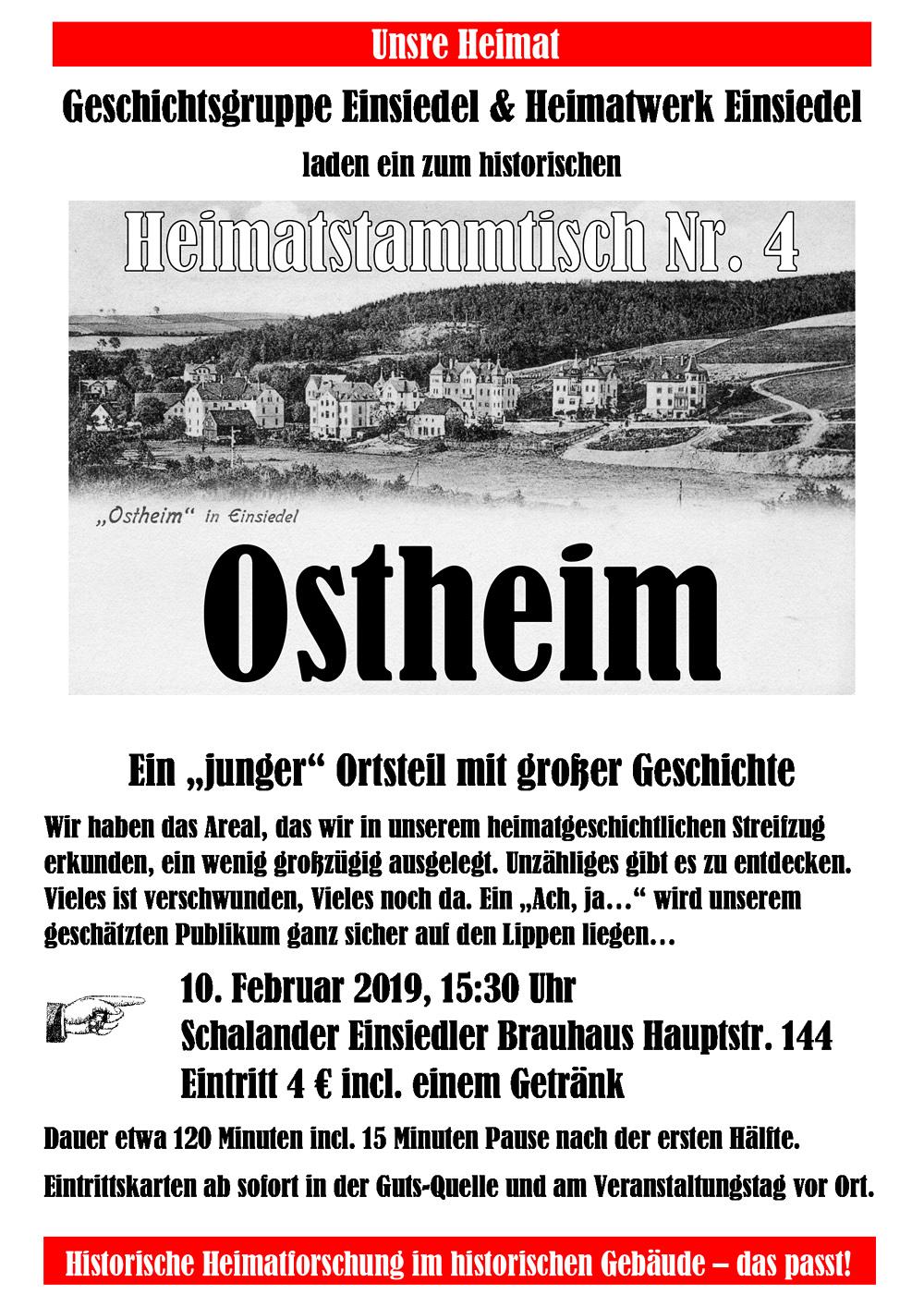 Heimatstammtisch Einsiedel Nr. 4, Thema: Ostheim