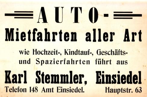 Mietfahrten Karl Stemmler (Werbetafel)
