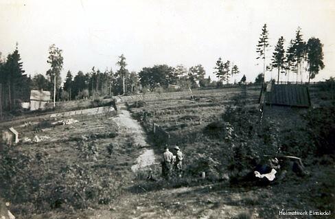 Holzbocksiedlung Einsiedel in den 1950er Jahren.