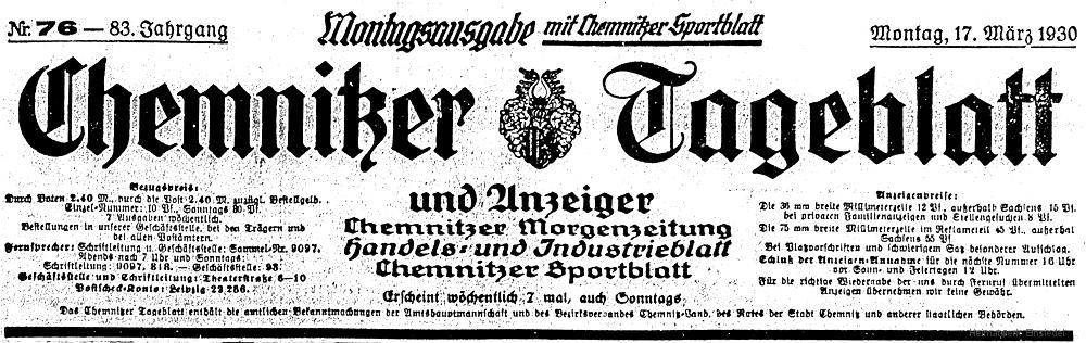 Chemnitzer Tageblatt 17. März 1930