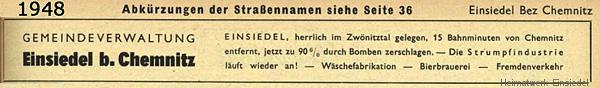 Adressbuch Einsiedel 1948