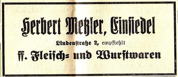 Fleischerei Herbert Metzler Einsiedel