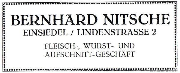 Werbeannonce Fleischrei Nitsche 1926