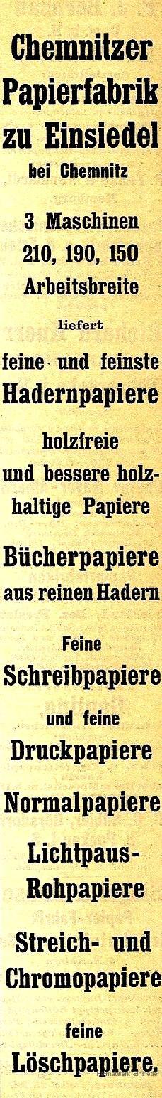 Werbeanzeige Papierfabrik Einsiedel 1908