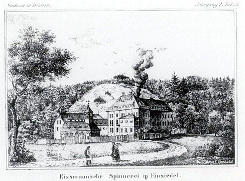 Spinnerei Eismann in Einsiedel um 1840