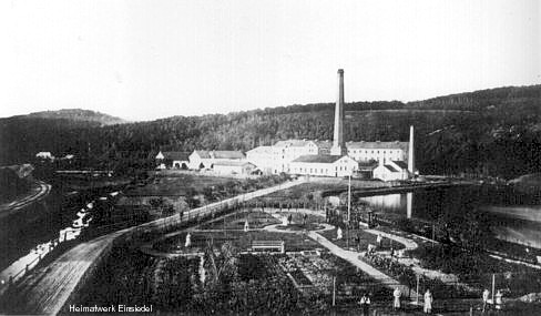 Gärtnerei Weniger mit Papierfabrik Einsiedel im Hintergrund