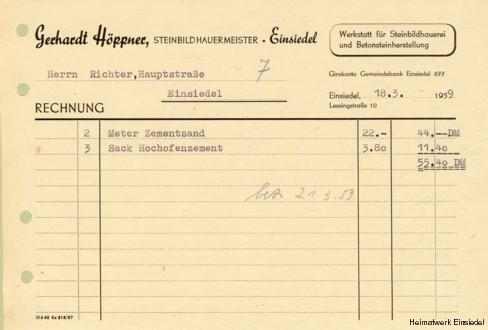 Rechnung Steinbildhauer Höppner 1959