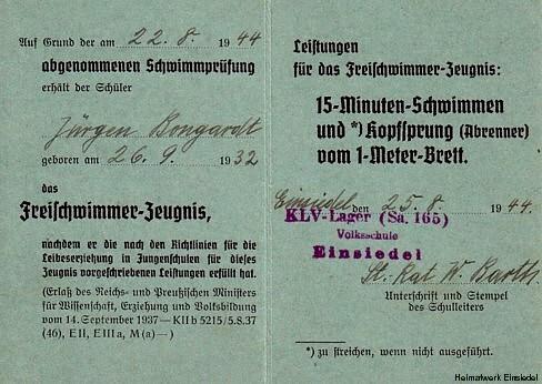 Freischwimmerausweis Jürgen Bongardt