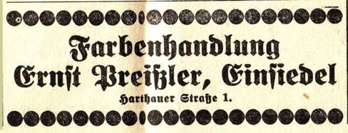 Annonce Farben-Preißler, Einsiedel, 1935