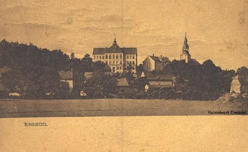 Blick zur Schule Einsiedel um 1910