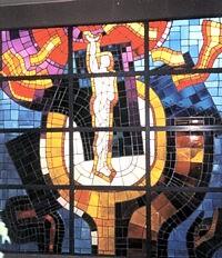 Michael Morgner: Die mythologische Figur des Prometheus in einem Bleiglasfenster in der Schule Einsiedel