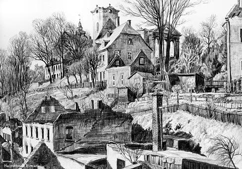 Ruinen in Einsiedel, Zeichnung von Walter Viertel 1945