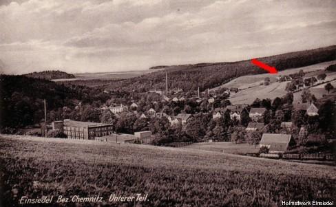 Blick ins Einsiedler Unterdorf 1938