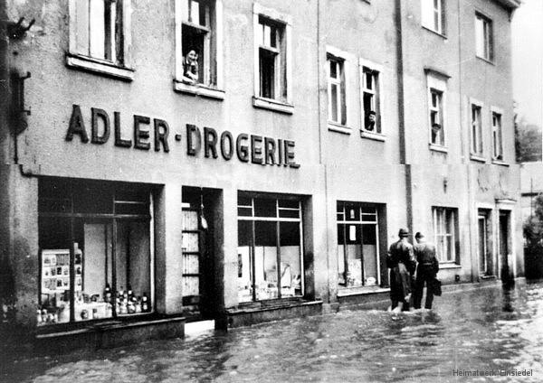Hochwasser 1954 in Einsiedel Höhe Hauptstr. 47