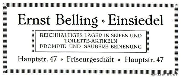 Annonce Friseurgeschäft Ernst Belling 1926