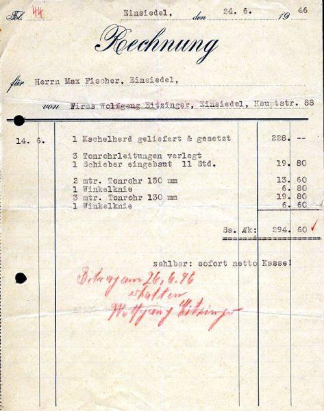 Rechnung Ofensetzerei Eizinger 1946