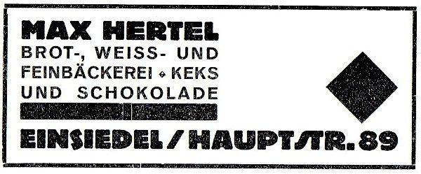 Annonce Bäckerei Max Hertel 1926