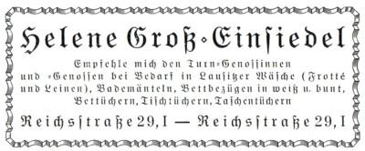 Wäschegeschäft Helene Groß Werbung 1926