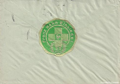 Briefumschlag Firma 1937 hinten