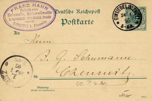 Postkarte mit Stempel Franz Hahn 1895