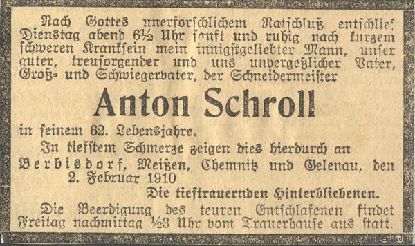Traueranzeige Schneidermeister Anton Schroll, Berbisdorf bei Einsiedel